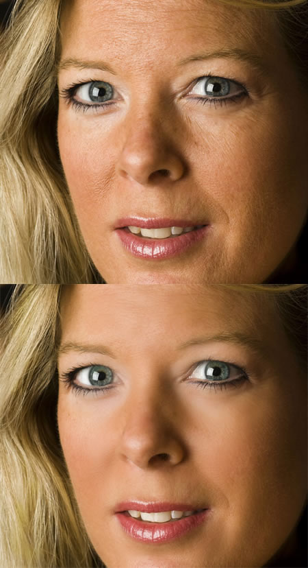 Skin retouching: before and after
